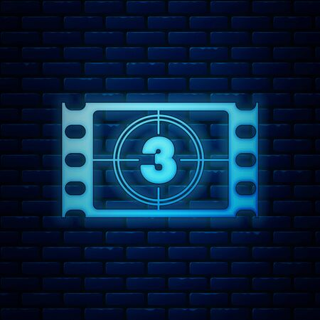 Glowing neon Play Video icon isolated on brick wall background. Film strip with start sign. Vector Illustration
