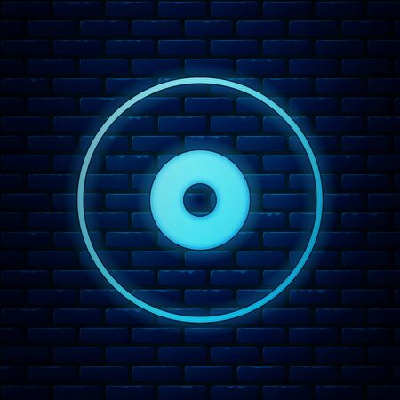 Glowing neon CD or DVD disk icon isolated on brick wall background. Compact disc sign. Vector Illustration