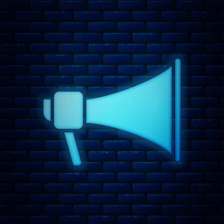 Glowing neon Megaphone icon isolated on brick wall background. Speaker sign. Vector Illustration