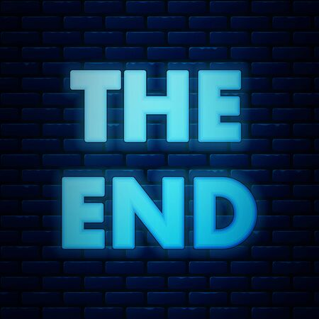 Glowing neon The End handwritten inscription icon isolated on brick wall background. Closing movie frame. Movie ending screen. Vector Illustration  イラスト・ベクター素材