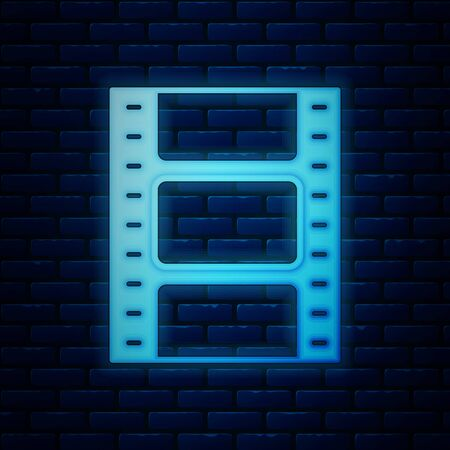 Glowing neon Play Video icon isolated on brick wall background. Film strip sign. Vector Illustration 向量圖像