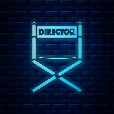 Glowing neon Director movie chair icon isolated on brick wall background. Film industry. Vector Illustration Stockfoto - 130819047