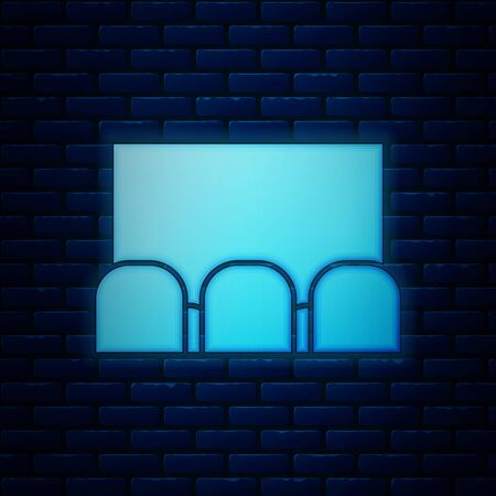 Glowing neon Cinema auditorium with screen and seats icon isolated on brick wall background. Vector Illustration
