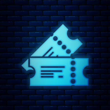 Glowing neon Cinema ticket icon isolated on brick wall background. Vector Illustration 版權商用圖片 - 130819052