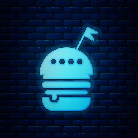 Glowing neon Burger icon isolated on brick wall background. Hamburger icon. Cheeseburger sandwich sign. Fast food menu. Vector Illustration