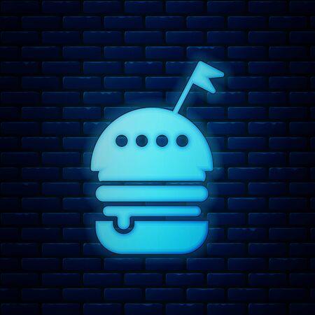 Glowing neon Burger icon isolated on brick wall background. Hamburger icon. Cheeseburger sandwich sign. Fast food menu. Vector Illustration