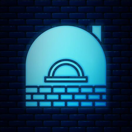 Glowing neon Brick stove icon isolated on brick wall background. Brick fireplace, masonry stove, stone oven icon. Vector Illustration  イラスト・ベクター素材