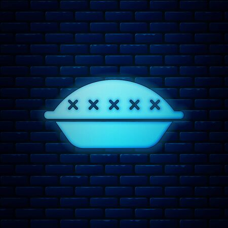Glowing neon Homemade pie icon isolated on brick wall background. Vector Illustration