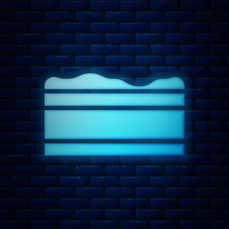 Glowing neon Brownie chocolate cake icon isolated on brick wall background. Vector Illustration Ilustrace