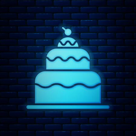 Glowing neon Cake icon isolated on brick wall background. Happy Birthday. Vector Illustration Иллюстрация