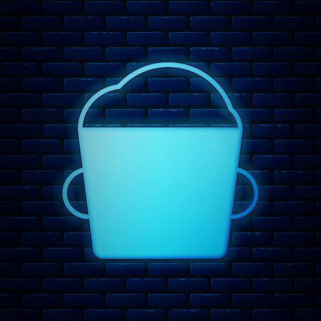 Glowing neon Bakery bowl dough icon isolated on brick wall background. Vector Illustration Illustration