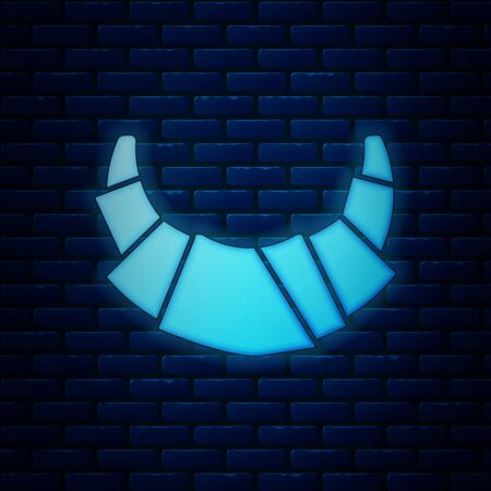 Glowing neon Croissant icon isolated on brick wall background. Vector Illustration 일러스트