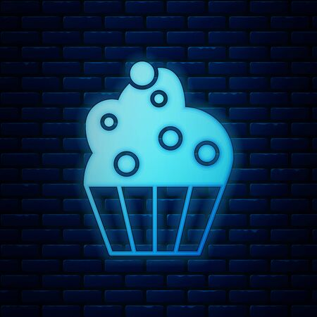 Glowing neon Cupcake icon isolated on brick wall background. Vector Illustration