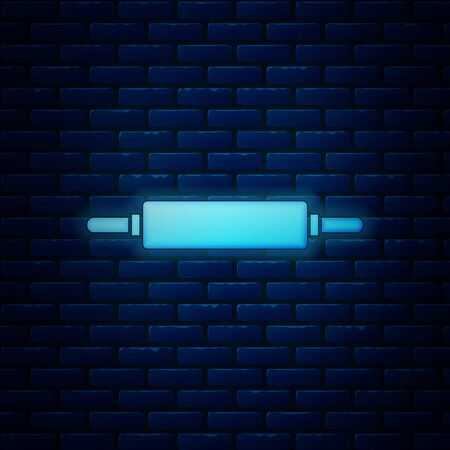 Glowing neon Rolling pin icon isolated on brick wall background. Vector Illustration
