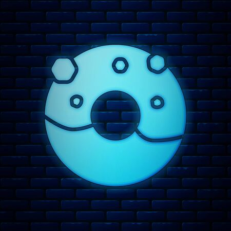 Glowing neon Donut with sweet glaze icon isolated on brick wall background. Vector Illustration 일러스트