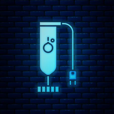 Glowing neon Blender icon isolated on brick wall background. Kitchen electric stationary blender. Cooking smoothies, cocktail or juice. Vector Illustration 向量圖像