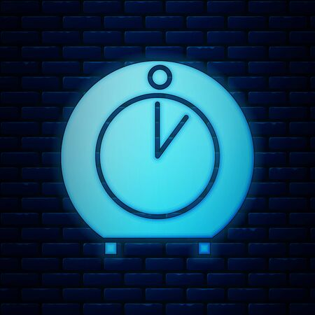 Glowing neon Kitchen timer icon isolated on brick wall background. Cooking utensil. Vector Illustration