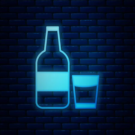 Glowing neon Closed glass bottle with milk and glass icon isolated on brick wall background. Vector Illustration