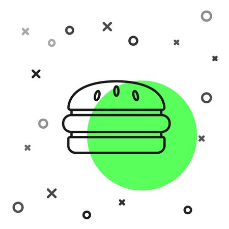 Black line Burger icon isolated on white background. Hamburger icon. Cheeseburger sandwich sign. Fast food menu. Vector Illustration