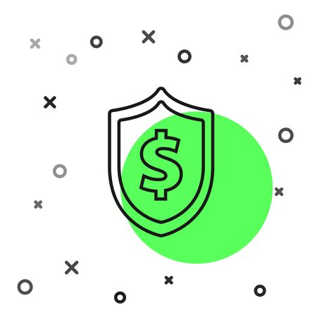 Black line Shield with dollar symbol icon isolated on white background. Security shield protection. Money security concept. Vector Illustration