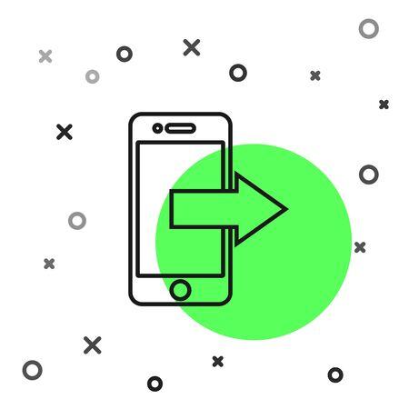 Black line Smartphone, mobile phone icon isolated on white background. Vector Illustration 版權商用圖片 - 130819093