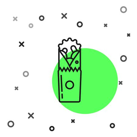 Black line Doner kebab icon isolated on white background. Shawarma sign. Street fast food menu. Vector Illustration Illustration