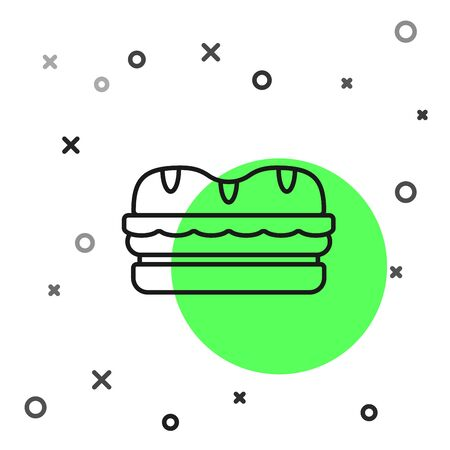 Black line Sandwich icon isolated on white background. Hamburger icon. Burger food symbol. Cheeseburger sign. Street fast food menu. Vector Illustration