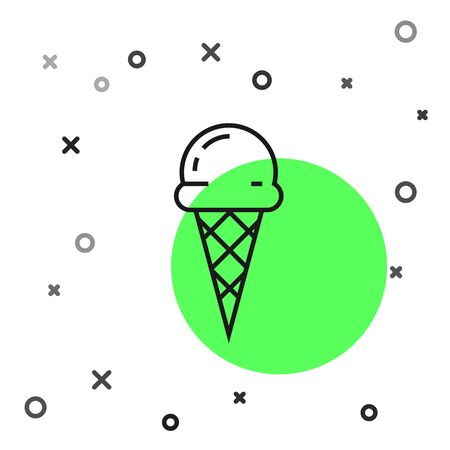 Black line Ice cream in waffle cone icon isolated on white background. Sweet symbol. Vector Illustration