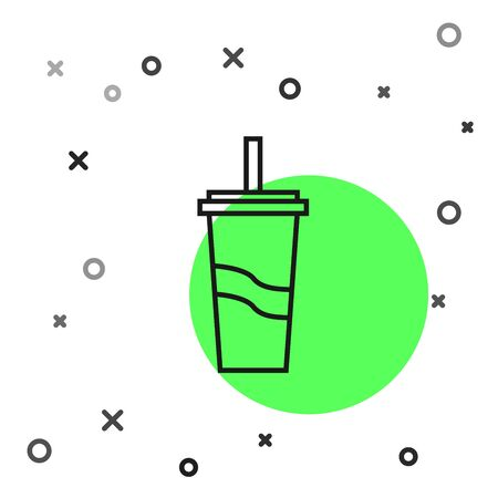Black line Paper glass with drinking straw and water icon isolated on white background. Soda drink glass. Fresh cold beverage symbol. Vector Illustration Иллюстрация
