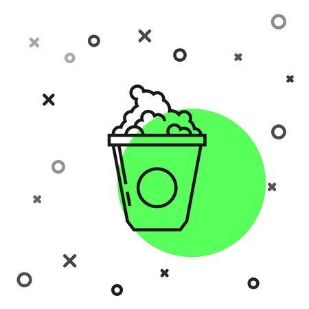 Black line Popcorn in cardboard box icon isolated on white background. Popcorn bucket box. Vector Illustration