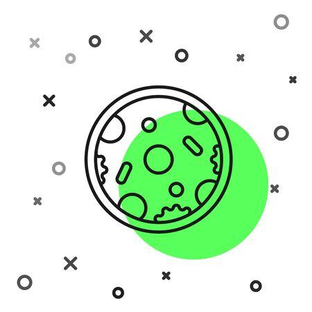 Black line Pizza icon isolated on white background. Fast food menu. Vector Illustration Illustration