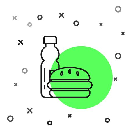 Black line Bottle of water and burger icon isolated on white background. Soda aqua drink sign. Hamburger, cheeseburger sandwich. Fast food menu. Vector Illustration
