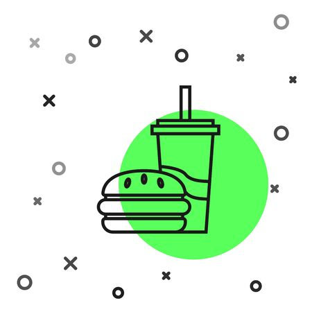 Black line Paper glass with drinking straw and burger icon isolated on white background. Soda aqua drink sign. Hamburger, cheeseburger sandwich. Vector Illustration