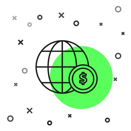 Black line Earth globe with dollar symbol icon isolated on white background. World or Earth sign. Global internet symbol. Geometric shapes. Vector Illustration Zdjęcie Seryjne - 130819132