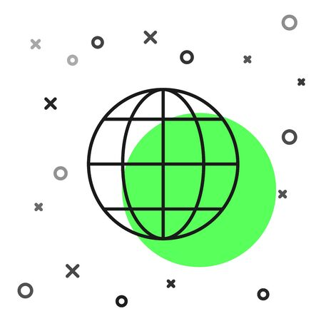 Black line Earth globe icon isolated on white background. World or Earth sign. Global internet symbol. Geometric shapes. Vector Illustration Фото со стока - 130819128