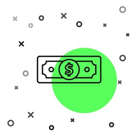 Black line Stacks paper money cash icon isolated on white background. Money banknotes stacks. Bill currency. Vector Illustration 向量圖像