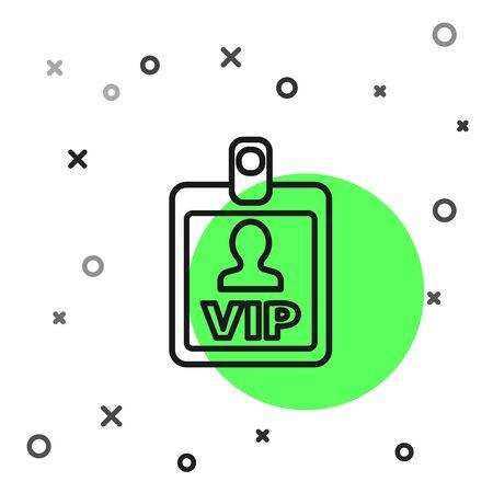 Black line VIP badge icon isolated on white background. Vector Illustration Illustration