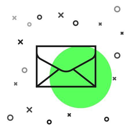 Black line Envelope icon isolated on white background. Email message letter symbol. Vector Illustration Zdjęcie Seryjne - 130819162