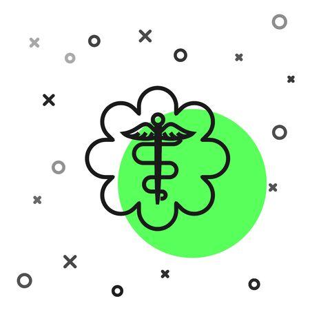 Black line Emergency star - medical symbol Caduceus snake with stick icon isolated on white background. Star of Life. Vector Illustration Illustration
