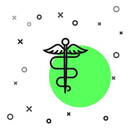 Black line Caduceus snake medical symbol icon isolated on white background. Medicine and health care. Emblem for drugstore or medicine, pharmacy. Vector Illustration Illustration