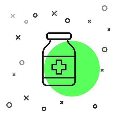 Black line Medicine bottle icon isolated on white background. Bottle pill sign. Pharmacy design. Vector Illustration Иллюстрация