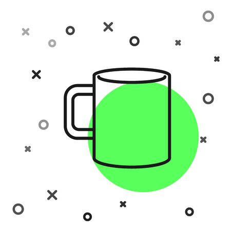 Black line Coffee cup flat icon isolated on white background. Tea cup. Hot drink coffee. Vector Illustration Illustration