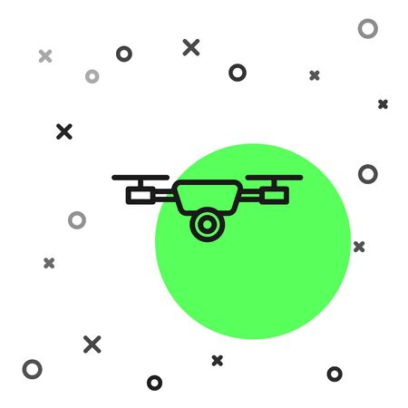 Black line Drone flying with action video camera icon isolated on white background. Quadrocopter with video and photo camera symbol. Vector Illustration