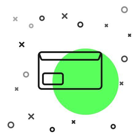 Black line Envelope icon isolated on white background. Email message letter symbol. Vector Illustration Banque d'images - 130819197