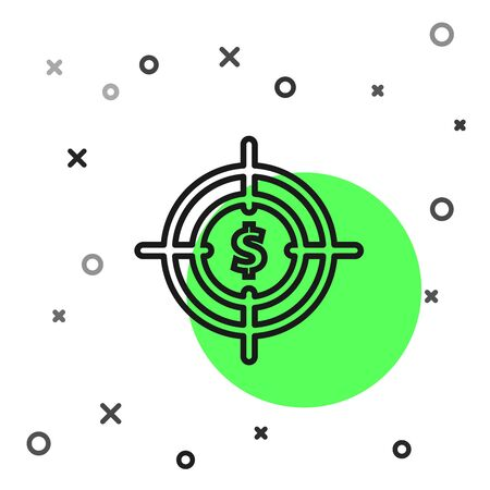 Black line Target with dollar symbol icon isolated on white background. Investment target icon. Successful business concept. Cash or Money sign. Vector Illustration Stock Illustratie