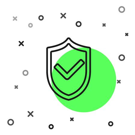 Black line Shield with check mark icon isolated on white background. Protection symbol. Security check Icon. Tick mark approved icon. Vector Illustration