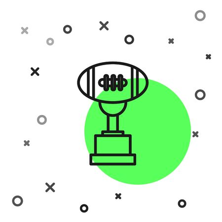 Black line Award cup and American football ball icon isolated on white background. Winner trophy symbol. Championship or competition trophy. Vector Illustration Banque d'images - 130819227