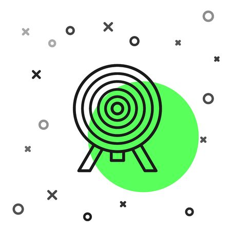 Black line Target icon isolated on white background. Dart board sign. Archery board icon. Dartboard sign. Business goal concept. Vector Illustration Banque d'images - 130819247
