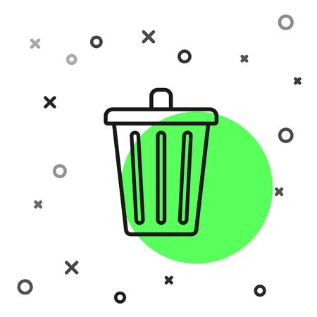 Black line Trash can icon isolated on white background. Garbage bin sign. Recycle basket icon. Office trash icon. Vector Illustration