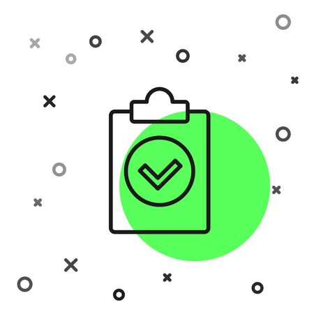 Black line Completed task icon isolated on white background. Compliance inspection approved. Checklist sign. Certified document symbol. Vector Illustration Banque d'images - 130819258
